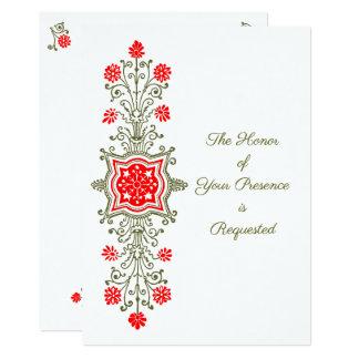 Blom- etsning i rött och guld som gifta sig 12,7 x 17,8 cm inbjudningskort