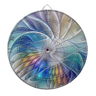 Blom- fantasi, färgrik abstrakt Fractalblomma Darttavla