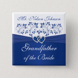 Blom- farfar för kunglig blåttvit av bruden standard kanpp fyrkantig 5.1 cm
