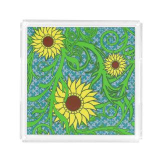 Blom- färgrika solrosor bricka