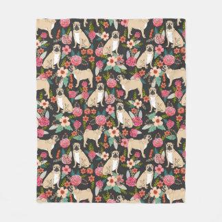 Blom- filt för mops - blom- design för gullig mops