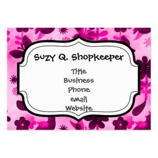 Blom- fjärilar för shock rosalila blommorfåglar set av breda visitkort