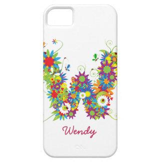 """Blom- Fodral-Kompis för iPhone 5 för Monogram """"W""""  iPhone 5 Hud"""