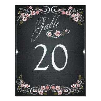 Blom- för bröllopbord för svart tavla vintage 10,8 x 14 cm inbjudningskort