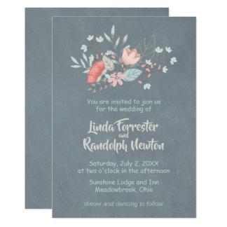 Blom- för svart tavlabröllop för bukett inbjudan