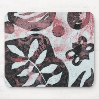 Blom- fossil abstrakt Monoprint Mus Mattor