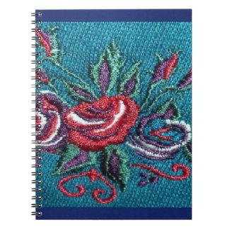 Blom- fotoanteckningsbok för blått anteckningsbok med spiral