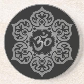 Blom- grå färg och svart Aum design Underlägg För Glas