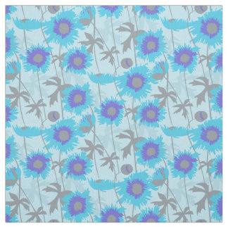 Blom- grafiskt tyg för trasiga vallmoblåttgrå färg