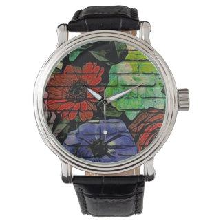 Blom- grafittiklocka armbandsur