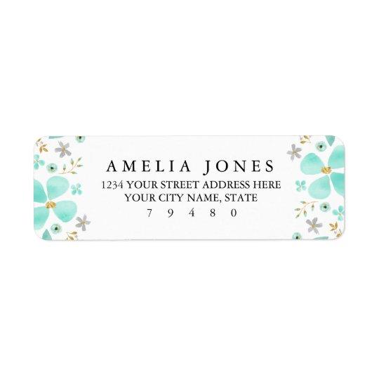 Blom- guld- etikett för Mintlövreturadress Returadress Etikett