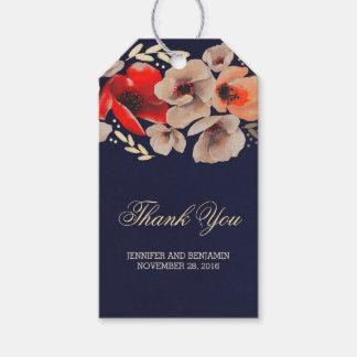 Blom- guld- lantligt bröllop för marin presentetikett