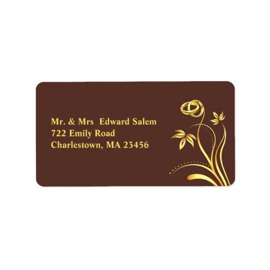 Blom- guld ringer medelsändningsetiketter adressetikett