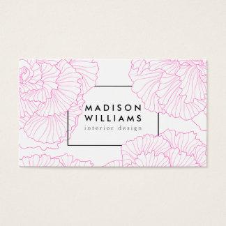 Blom- gulligt motivmönster för modern chic rosa visitkort