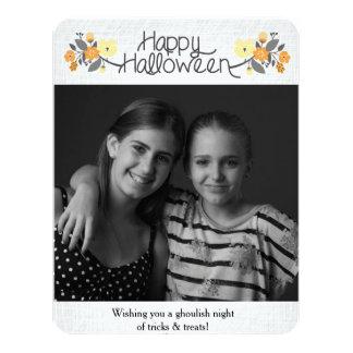 Blom- Halloween fotokort 10,8 X 14 Cm Inbjudningskort