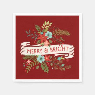 Blom- helgdagservetter för glad och ljus jul papper servett