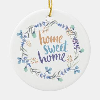 Blom- hem för sötsak för vattenfärgkranhem julgransprydnad keramik