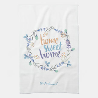 Blom- hem för sötsak för vattenfärgkranhem kökshandduk
