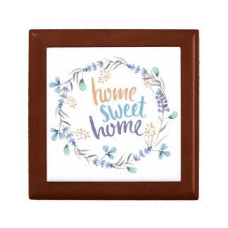 Blom- hem för sötsak för vattenfärgkranhem liten presentask