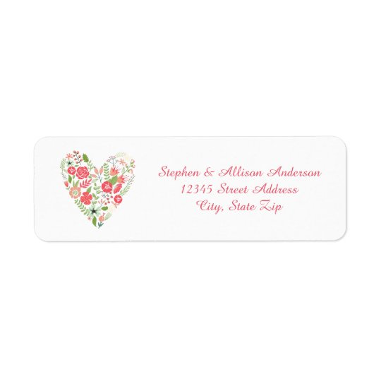 Blom- hjärta - adressetiketter