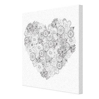 Blom- hjärtaklotter 6 canvastryck