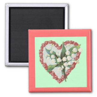 Blom- hjärtamagnet för vintage magnet