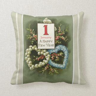 Blom- hjärtor för vintage och duvagott nytt år kudde