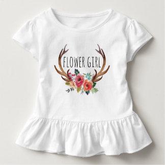Blom- hjortHorn /Flower Girl-9 för chic vattenfärg Tshirts