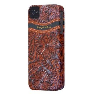 blom- iphonefodral-personalizable för läder iPhone 4 Case-Mate skydd