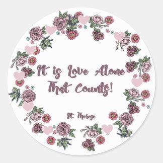 Blom- kärlek för rosenkransSt. Therese Runt Klistermärke