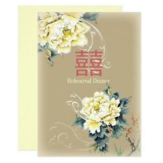 blom- kinesiskt bröllop för modern vintagepion 12,7 x 17,8 cm inbjudningskort