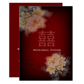 blom- kinesiskt bröllop för vintageburgundy pion 12,7 x 17,8 cm inbjudningskort