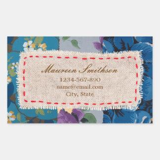 Blom- klistermärke för adress för tygPatchwork