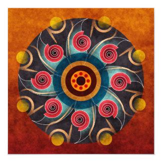 Blom- konst för färgabstraktvektor fyrkantigt 13,3 cm inbjudningskort