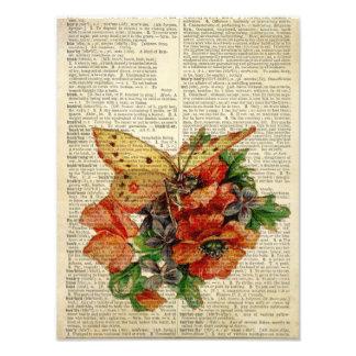 Blom- konst för fjäril på vintageordboksidan