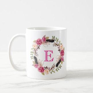 Blom- kopp för initial för Boho kaffemugg tekopp