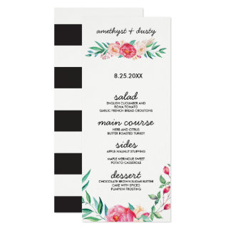 Blom- kort för vattenfärgbröllopmeny 10,2 x 23,5 cm inbjudningskort