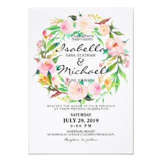 Blom- kran för chic vattenfärg som gifta sig 12,7 x 17,8 cm inbjudningskort