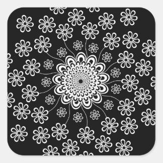 Blom- Mandala Fyrkantigt Klistermärke