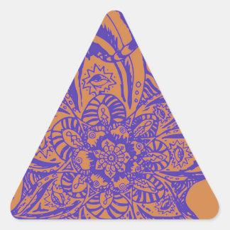 Blom- Mandalamönster för solbränna och för Triangelformat Klistermärke