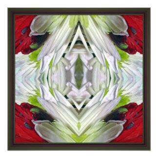 Blom- Mandela --Rött och vit Fotokonst