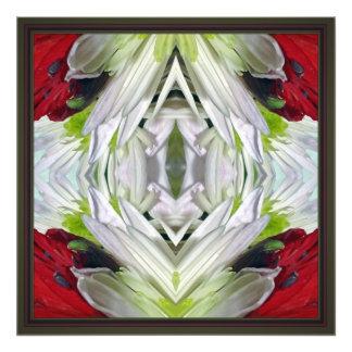 Blom- Mandela --Rött och vit Fototryck