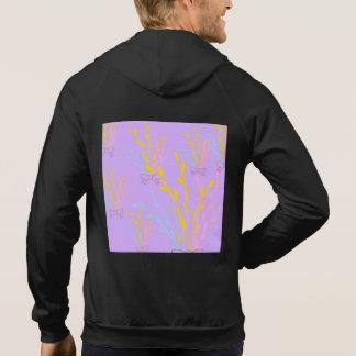 Blom- medvetenhetrosett band på lila lilor tröja med luva