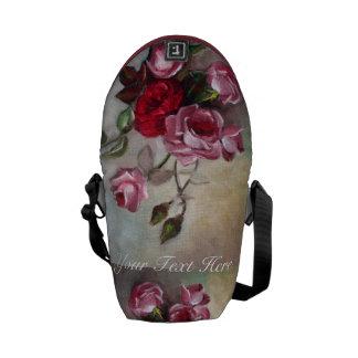 Blom- mini- messenger bag för rosor och för röd ro