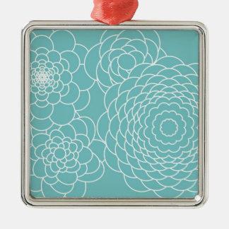 Blom- moderna abstraktblommor för blått julgransprydnad metall