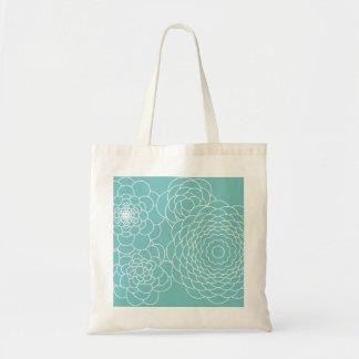 Blom- moderna abstraktblommor för blått tote bags