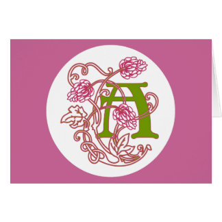 Blom- monogram A för art nouveau Hälsningskort