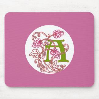 Blom- monogram A för art nouveau Musmatta