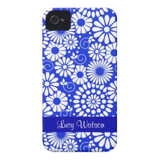 Blom- mörk för vintage - blåttblackberry iPhone 4 cover