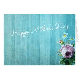 Blom- mors dag kort för blåttvintage